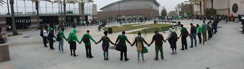 Students at Lincoln in prayer on Monday--via Twitter