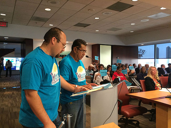 Two Environmental Health Coalition members speaking at SANDAG board meeting