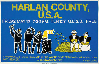 "Illustration: Lincoln Cushing, Groundwork cohosting ""Harlan County, USA "" (a film by Barbara Kopple) in 1978"