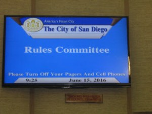 Video panel showing a slide announcing the beginning of the City of San Diego Rules Committee meeting 2016-06-15