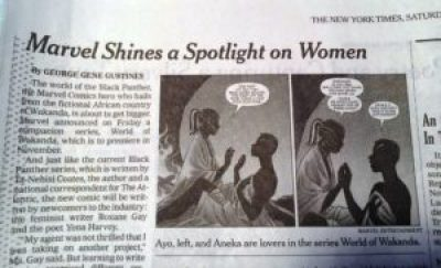 """Image of print version of Gustines NYT review of Marvel comics """"World of Wakanda"""""""