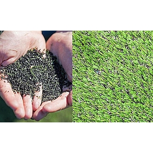 Close up view of crumb rubber artificial turf