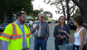 City representatives can't say who decided to chop the Torrey. city rep Jeremy Barrick – in yellow vest, left, Ed Lenderman – reporter, Katie Keach – City PR person, neighbor Kevyn Lettau. Credit OB Rag