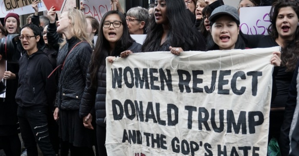Women protesting the misogyny of the Trump campaign outside of Trump Tower in New York City on October 12, 2016.