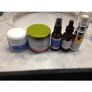Anti-wrinkle skin products on marble sink counter-top