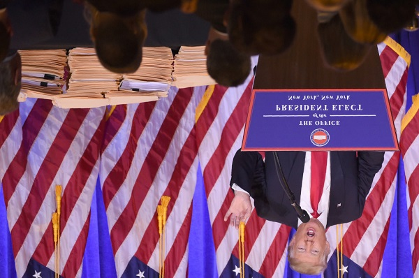 Trump press conference photo turned upside-down