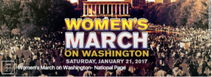 "Image of massive crowd gathered on Washington Mall, D.C used as ""Women's March on Washington"" Facebook event page banner"