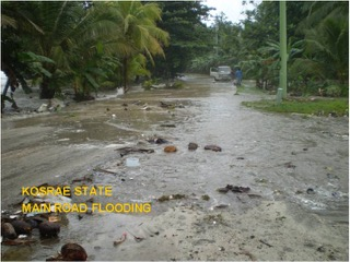 Flooding of a main road, Kosrae, Micronesia