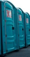 Row of blue porta-potties