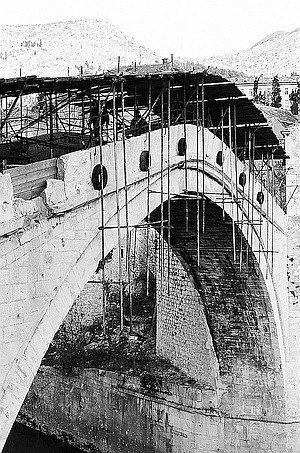 Mostar bridge with scaffolding