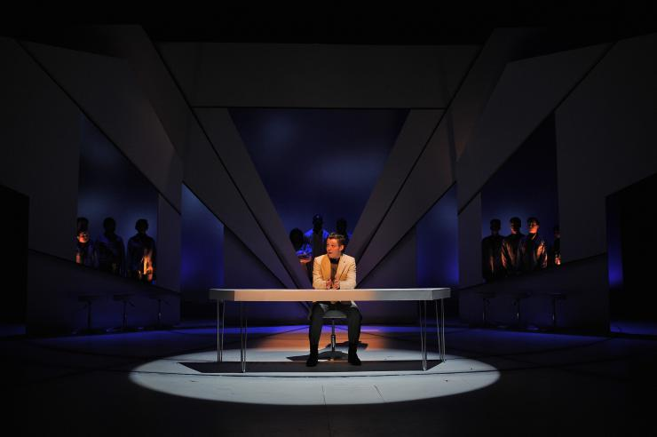 Actor on stage in scene from 'Collidescope 3.0: Adventures in Pre-and Post-Racial America'