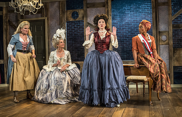 "Cast of ""The Revolutionists"" on stage"