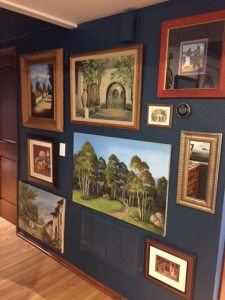 Paintings displayed on wall