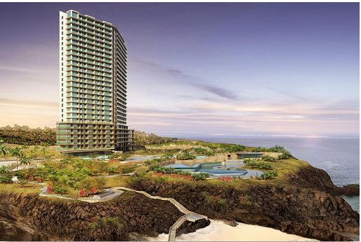 Architect's drawing of planned Trump Tower sitting on ocean bluff
