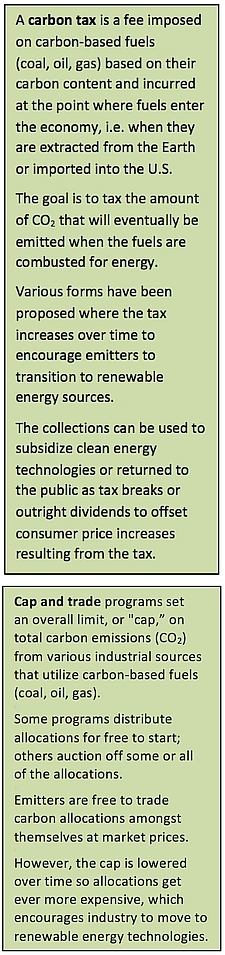 "Sidebar describing ""Carbon tax"" and ""Cap and trade"""