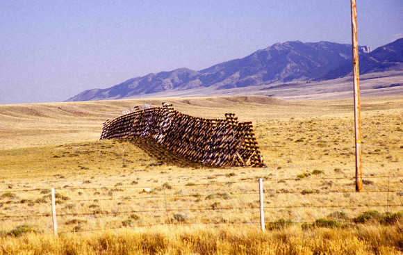 Wooden snow fence on Wyoming plain