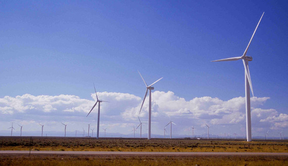 Windmill farm on Wyoming plain