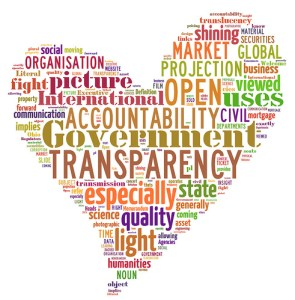 Graphic of heart shape made from words emphasizing government transparency