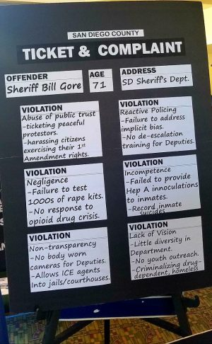 "Poster presenting ""Ticket and Complaint"" violations for Sheriff Bill Gore (Dave Myers campaign poster)"