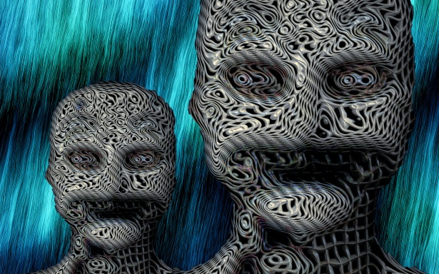 Digital graphics of two zombie-like faces