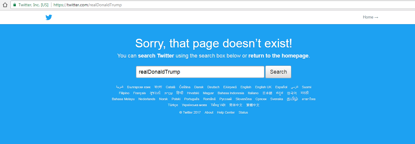 "Twitter web page search result for ""realDonaldTrump' displaying ""Sorry, that page doesn't exist!"""
