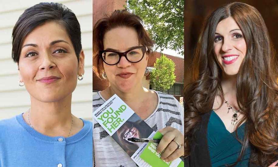 Head shot collage portrait of three women