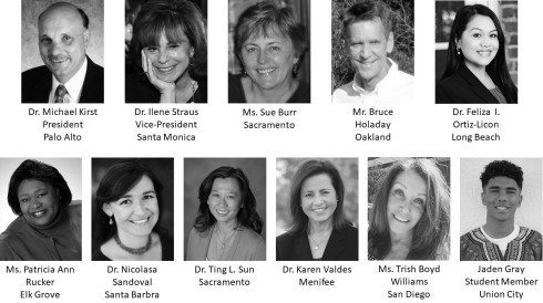 Thumbnail headshots of the eleven California School Board of Education members