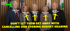 "Supervisor Bill ""Bah Humbug"" Horn Bashes Evening Budget Hearings"
