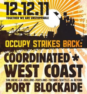 Graphic poster for West Coast port shutdown