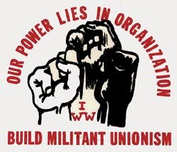 IWW logo with three fists
