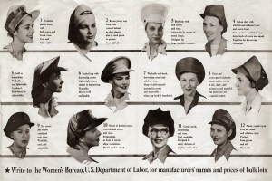 Chart displaying illustrations of women''s safety hats