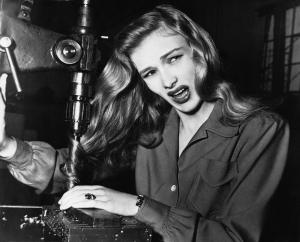 Veronica Lake with hair caught on machine spindle