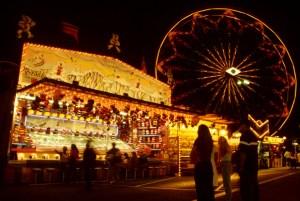 Night time fairgrounds scene