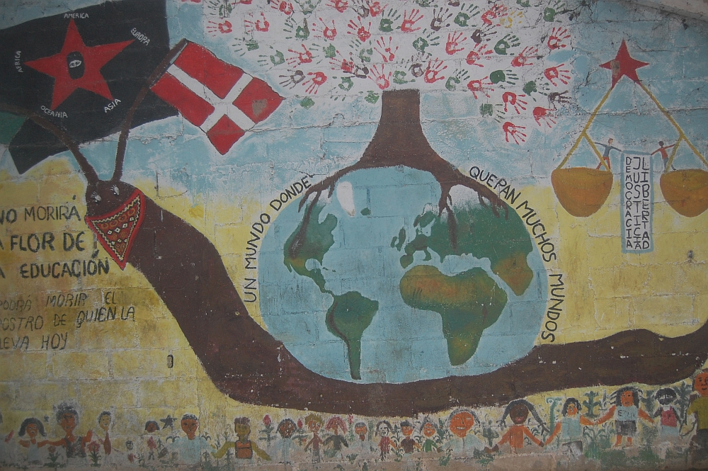 Mural of snail with globe