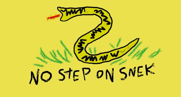 Caricature of Gadsen flag with crude crayon drawing of a snake in grass with motto: NO STEP ON SNEK