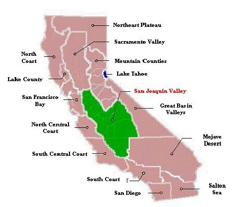 Map of Caliornia regions; San Joaquin Valley highlighted in green