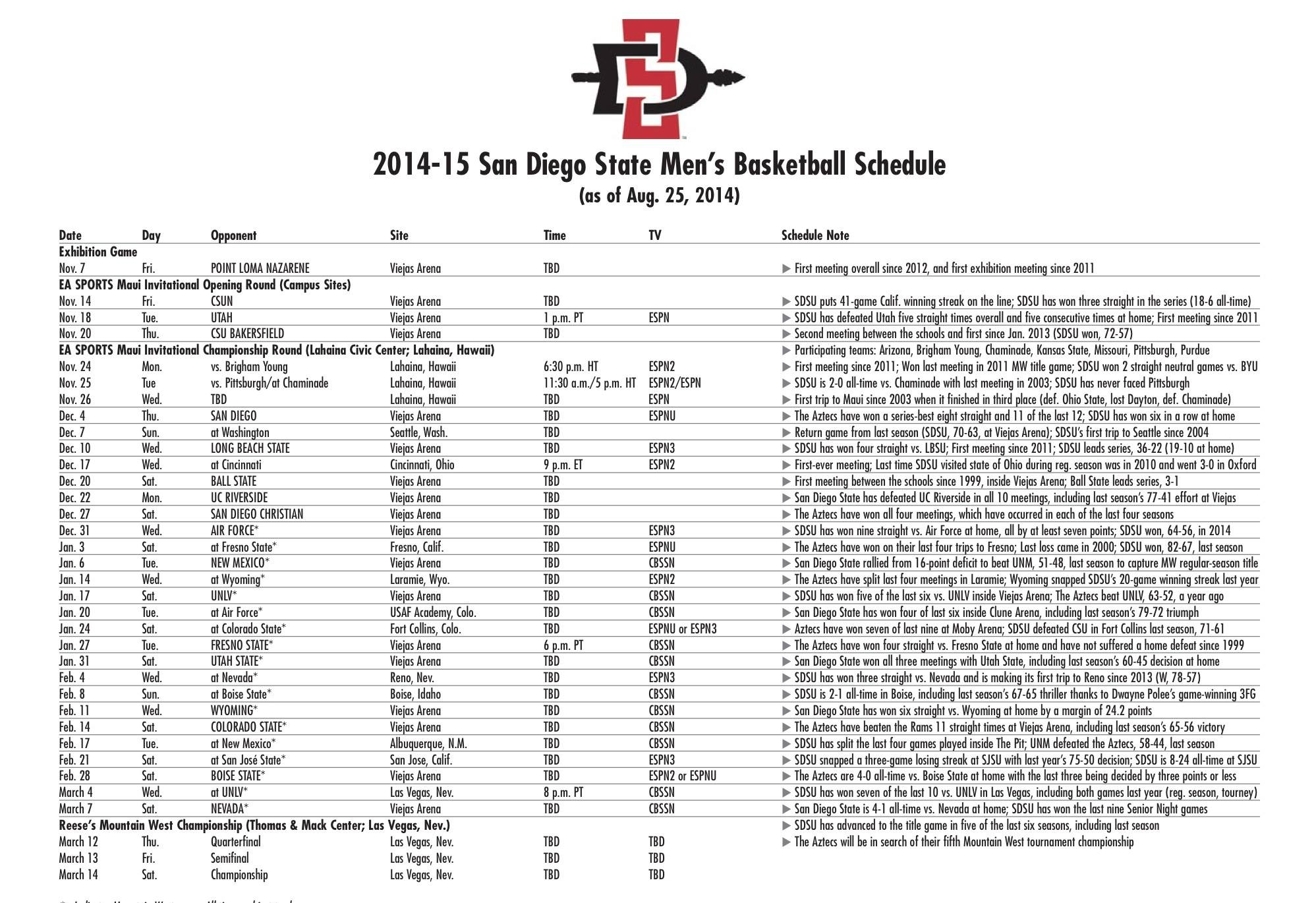 San Diego State Releases 2014/15 Men's Basketball Schedule