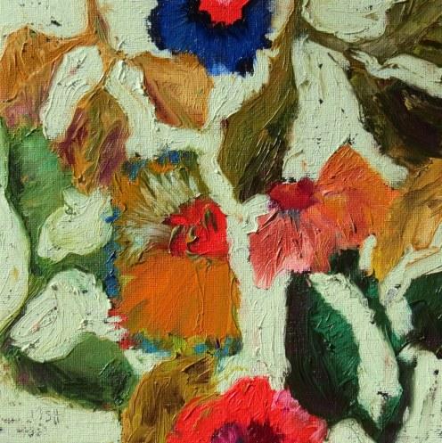 oil bar flowers green background, Sandi Hester, oil 8x8