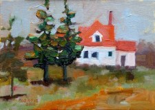 Red roof maine house, sandi hester, 5x7 oil