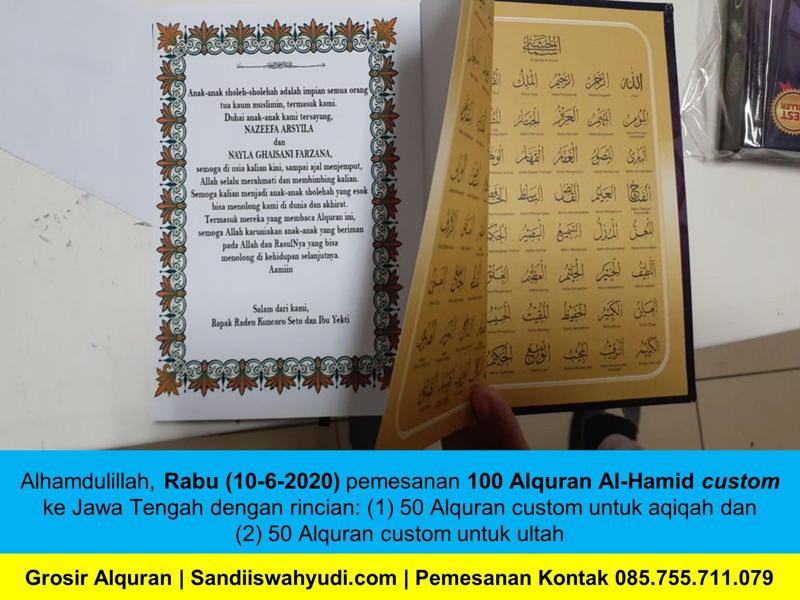 100 pcs Alquran Murah Al-Hamid Custom ke Jawa Tengah