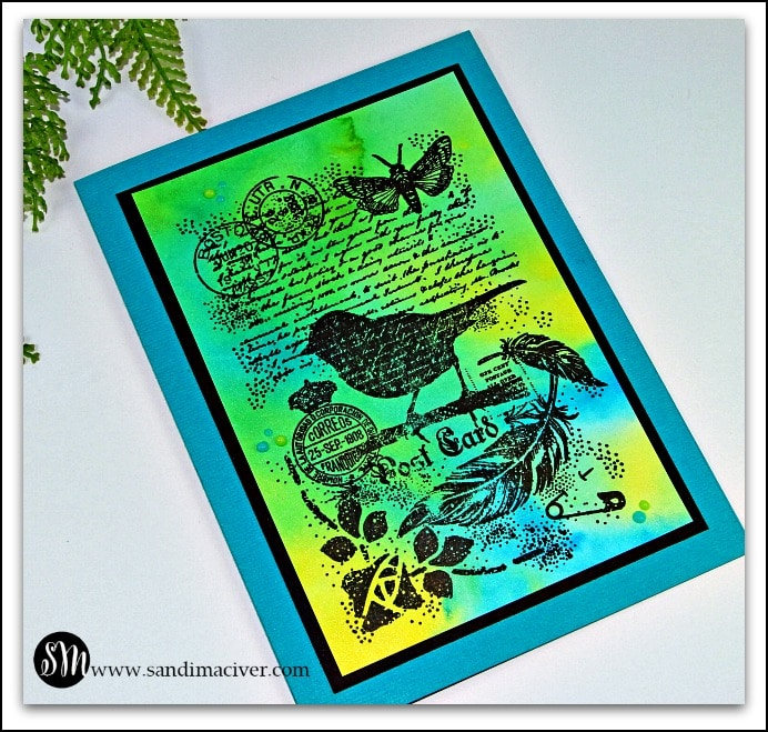 green and blue handmade greeting cards with Nuvo Shimmer Powder Backgrounds