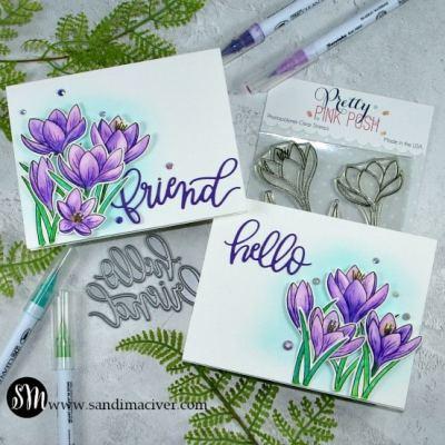Pretty Pink Posh Crocus Flowers Cards