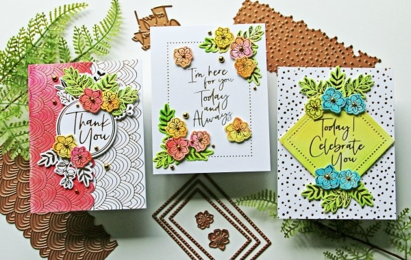 Spellbinders Stylish Script Collection set of three cards