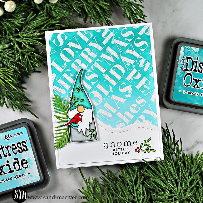 Simon Says Stamp Holiday Words Gnome Christmas Card