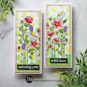 two handmade slimline cards created with cardmaking stamps and dies from Simon Says Stamp
