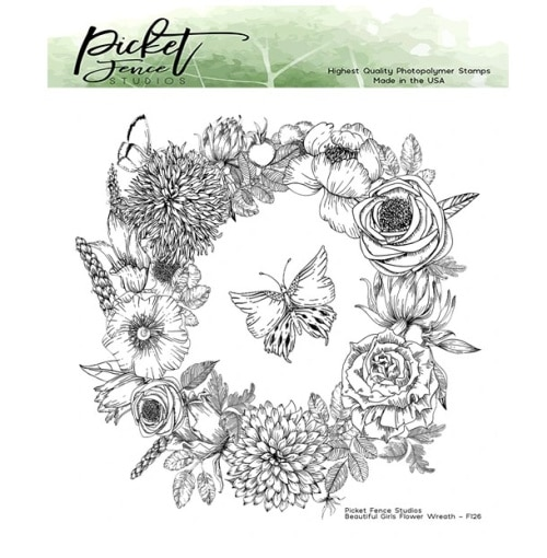 image of the picket fence studios beautiful girls flower wreath stamp set