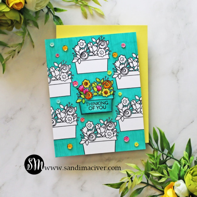 image of teal hand made card created with the Simon Says Stamp Window Box Blooms stamp set