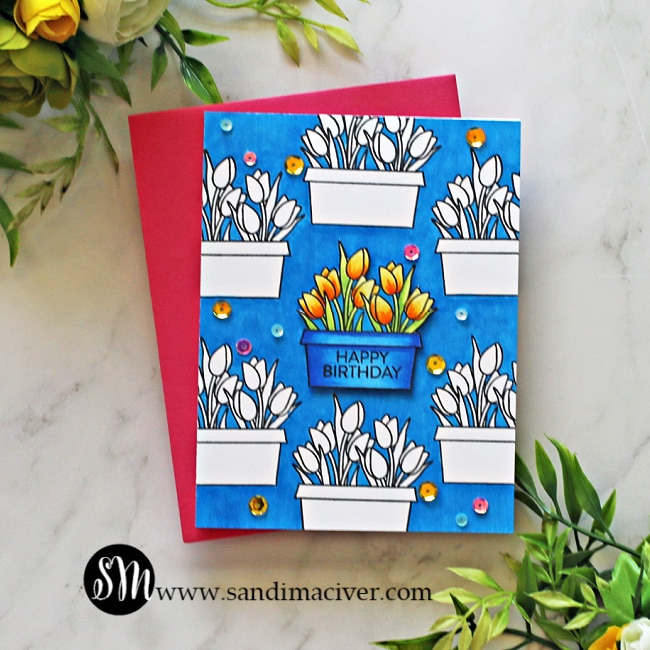 blue handmade card created with the Simon Says Stamp Window Box Blooms Stamp Set