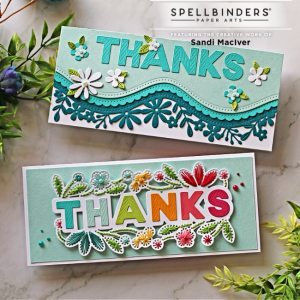 two handmade die cut and stitched slimline cards with cardmaking dies from Spellbinders