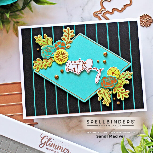 Turquoise and Black handmade birthday card created with the Spellbinders Diamond Floral Frame glimmer set